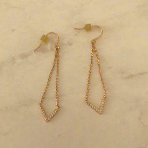 Dangle gold chevron earrings